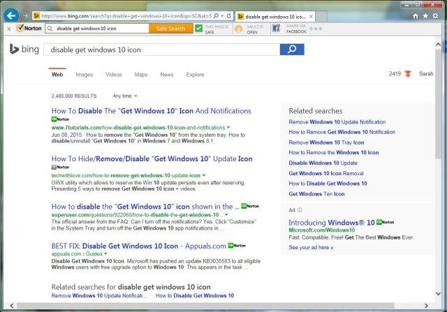 Internet Explorer search