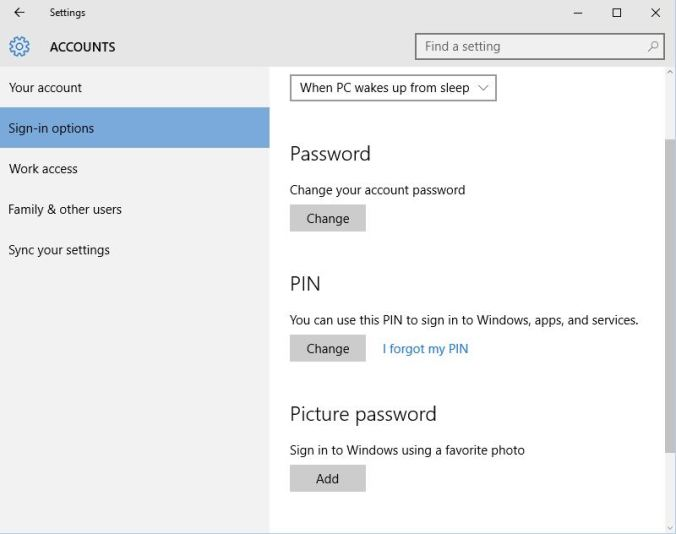 Windows 10 Users Account Pin