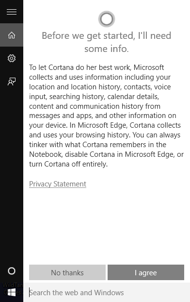 windows cortana agreement