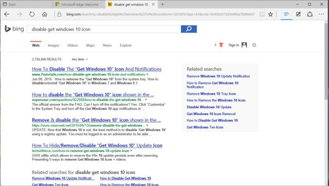 windows edge search